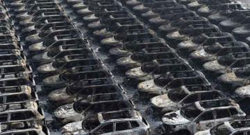Galeri Foto : Ribuan Mobil Terpanggang di Tianjin, China